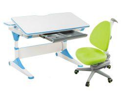 Комплект FunDesk Парта-трансформер Trovare с креслом SST10 и прозрачной накладкой на парту 65х45