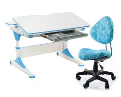 Комплект FunDesk Парта-трансформер Trovare с креслом SST5 и прозрачной накладкой на парту 65х45