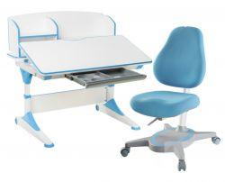 Комплект FunDesk Парта-трансформер Trovare с надстройкой с креслом Primavera I и прозрачной накладкой на парту 65х45