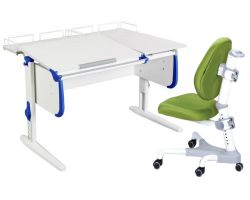 Комплект ДЭМИ Парта СУТ-25-01 WHITE DOUBLE с раздельной столешницей с креслом Champion и прозрачной накладкой на парту 65х45
