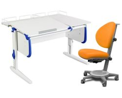 Комплект ДЭМИ Парта СУТ-25-01 WHITE DOUBLE с раздельной столешницей с креслом Cambridge и прозрачной накладкой на парту 65х45