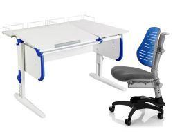 Комплект ДЭМИ Парта СУТ-25-01 WHITE DOUBLE с раздельной столешницей с креслом Oxford C3 и прозрачной накладкой на парту 65х45