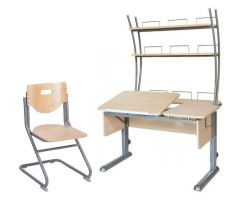 Комплект Астек Парта ТВИН-2 с надстройкой со стулом SF-3 и прозрачной накладкой на парту 65х45