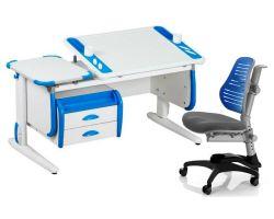 Комплект ДЭМИ Парта Techno СУТ 31-03 с тумбой с креслом Oxford C3 и прозрачной накладкой на парту 65х45