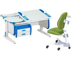 Комплект ДЭМИ Парта Techno СУТ 31-04 с креслом Champion и прозрачной накладкой на парту 65х45