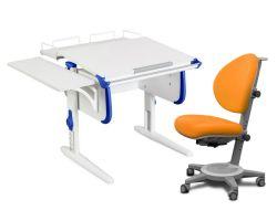 Комплект ДЭМИ Парта WHITE СТАНДАРТ СУТ-24-02 с креслом Cambridge и прозрачной накладкой на парту 65х45