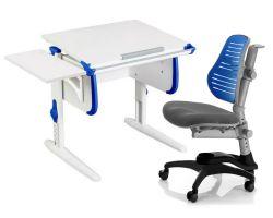 Комплект ДЭМИ Парта WHITE СТАНДАРТ СУТ-24К с креслом Oxford C3 и прозрачной накладкой на парту 65х45