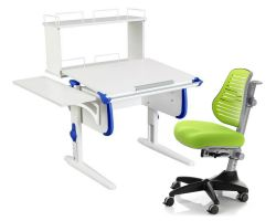 Комплект ДЭМИ Парта WHITE СТАНДАРТ СУТ-24-02Д с креслом Conan и прозрачной накладкой на парту 65х45