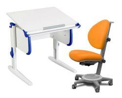 Комплект ДЭМИ Парта WHITE СТАНДАРТ СУТ 24 с креслом Cambridge и прозрачной накладкой на парту 65х45