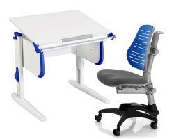 Комплект ДЭМИ Парта WHITE СТАНДАРТ СУТ 24 с креслом Oxford C3 и прозрачной накладкой на парту 65х45