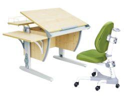Комплект ДЭМИ Парта СУТ-14-02 75х55 см с задней и боковой приставкой с креслом Champion и прозрачной накладкой на парту 65х45