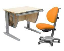 Комплект ДЭМИ Парта СУТ-14P 75х55 см с рисунком с креслом Cambridge и прозрачной накладкой на парту 65х45