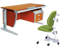 Комплект ДЭМИ Парта СУТ-15-03 120х55 см с креслом Champion и прозрачной накладкой на парту 65х45