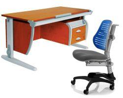 Комплект ДЭМИ Парта СУТ-15-03 120х55 см с креслом Oxford C3 и прозрачной накладкой на парту 65х45