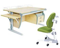 Комплект ДЭМИ Парта СУТ-15-05 120х55 см с креслом Champion и прозрачной накладкой на парту 65х45