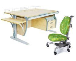 Комплект ДЭМИ Парта СУТ-15-05 120х55 см с креслом Nobel и прозрачной накладкой на парту 65х45