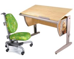 Комплект ДЭМИ Парта СУТ-15P 120х55 см с рисунком с креслом Nobel и прозрачной накладкой на парту 65х45