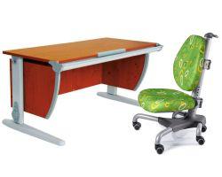 Комплект ДЭМИ Парта СУТ-15 120х55 см с креслом Nobel и прозрачной накладкой на парту 65х45