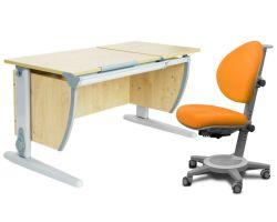 Комплект ДЭМИ Парта СУТ-17 120Х55 см с раздельной столешницей с креслом Cambridge и прозрачной накладкой на парту 65х45