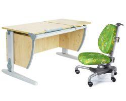 Комплект ДЭМИ Парта СУТ-17 120Х55 см с раздельной столешницей с креслом Nobel и прозрачной накладкой на парту 65х45