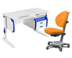 Комплект ДЭМИ Парта СУТ-25-03 WHITE DOUBLE с креслом Cambridge и прозрачной накладкой на парту 65х45