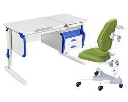 Комплект ДЭМИ Парта СУТ-25-03 WHITE DOUBLE с креслом Champion и прозрачной накладкой на парту 65х45