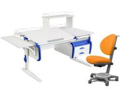 Комплект ДЭМИ Парта СУТ-25-05Д WHITE DOUBLE с креслом Cambridge и прозрачной накладкой на парту 65х45