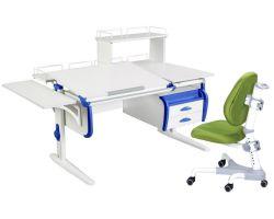 Комплект ДЭМИ Парта СУТ-25-05Д WHITE DOUBLE с креслом Champion и прозрачной накладкой на парту 65х45
