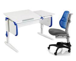 Комплект ДЭМИ Парта СУТ-25 WHITE DOUBLE с раздельной столешницей с креслом Oxford C3 и прозрачной накладкой на парту 65х45