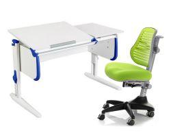 Комплект ДЭМИ Парта СУТ-25 WHITE DOUBLE с раздельной столешницей с креслом Conan и прозрачной накладкой на парту 65х45