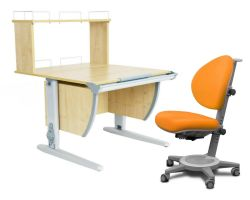 Комплект ДЭМИ Парта СУТ 14-01Д с креслом Cambridge и прозрачной накладкой на парту 65х45