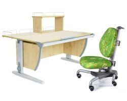 Комплект ДЭМИ Парта СУТ 15-01Д с креслом Nobel и прозрачной накладкой на парту 65х45