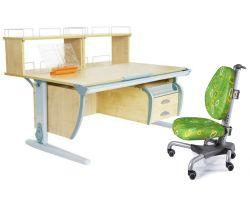 Комплект ДЭМИ Парта СУТ 15-04Д2 с креслом Nobel и прозрачной накладкой на парту 65х45
