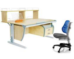 Комплект ДЭМИ Парта СУТ 15-04Д2 с креслом Oxford C3 и прозрачной накладкой на парту 65х45