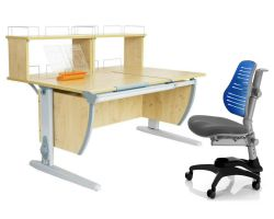 Комплект ДЭМИ Парта СУТ 17-01Д2 с креслом Oxford C3 и прозрачной накладкой на парту 65х45