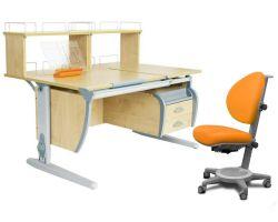 Комплект ДЭМИ Парта СУТ 17-04Д2 с креслом Cambridge и прозрачной накладкой на парту 65х45