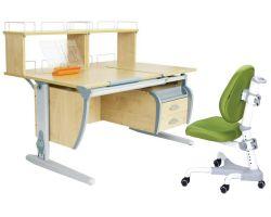 Комплект ДЭМИ Парта СУТ 17-04Д2 с креслом Champion и прозрачной накладкой на парту 65х45