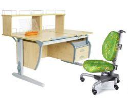 Комплект ДЭМИ Парта СУТ 17-04Д2 с креслом Nobel и прозрачной накладкой на парту 65х45