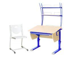 Комплект Астек Парта КОЛИБРИ с надстройкой со стулом SF-3 и прозрачной накладкой на парту 65х45