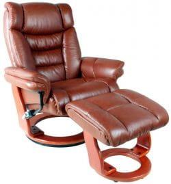 Кожаное кресло-реклайнер Relax Zuel 7582 W с пуфом для ног