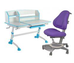 Комплект FunDesk Парта-трансформер Amare II с креслом Bravo и прозрачной накладкой на парту 65х45
