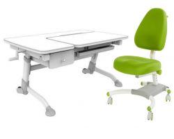 Комплект FunDesk Парта-трансформер Amare с ящиком с креслом Ottimo и прозрачной накладкой на парту 65х45