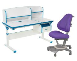 Комплект FunDesk Парта-трансформер Creare с креслом Bravo и прозрачной накладкой на парту 65х45