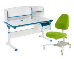 Комплект FunDesk Парта-трансформер Creare с креслом Ottimo и прозрачной накладкой на парту 65х45