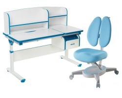 Комплект FunDesk Парта-трансформер Creare с креслом Primavera II и прозрачной накладкой на парту 65х45