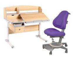 Комплект FunDesk Парта-трансформер Sognare с креслом Bravo и прозрачной накладкой на парту 65х45