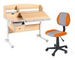 Комплект FunDesk Парта-трансформер Sognare с креслом LST4 и прозрачной накладкой на парту 65х45