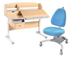 Комплект FunDesk Парта-трансформер Sognare с креслом SST4 и прозрачной накладкой на парту 65х45