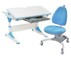 Комплект FunDesk Парта-трансформер Trovare с креслом SST4 и прозрачной накладкой на парту 65х45