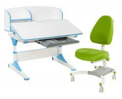 Комплект FunDesk Парта-трансформер Trovare с надстройкой с креслом Ottimo и прозрачной накладкой на парту 65х45